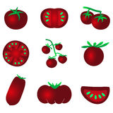 Red color tomatoes simple icons set eps10 Royalty Free Stock Photography