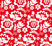 Red color traditional european Ukrainian ornament. r Stock Photos