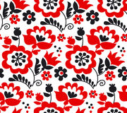 Red color traditional european Ukrainian ornament. Royalty Free Stock Images