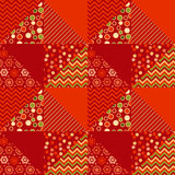 Red color traditional ornament patchwork pattern. Illustration. seamless repeatable motif of assorted fabrics. red and green abstract Christmas vector Stock Photography
