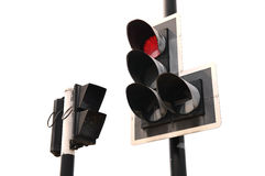 Red color on the traffic light. Isolate on white background Stock Photos