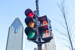 Red color on the traffic light in Montreal Royalty Free Stock Photos