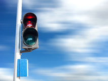 Red color on the traffic light for pedestrian. Stock Photos