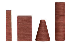 Red color wood 3D rendering of geometric figures isolated on white. Stock Photo