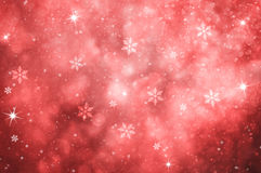 Red colored abstract snowfall Christmas illustration background Stock Images
