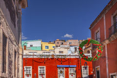 Red Colored Building Christmas Decorations Guanajuato Mexico Stock Photos