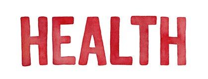 Word `health`, watercolour illustration. stock photos