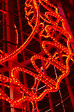 Red colored christmas lights detail structure. In vertical format Royalty Free Stock Photo