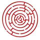 Red colored circle shaped maze stock photography