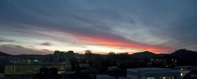 Red colored cirrostratus cloud, sunset landscape panorama royalty free stock photo