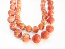 Red colored coral beads Royalty Free Stock Photo