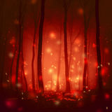 Red colored fairytale with fireflies Royalty Free Stock Photo