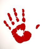 Red Colored hand. A hand print with a red colors Stock Images