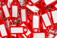 Red colored key rings Stock Photo