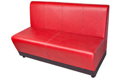 Red colored leatherette office sofa, on white, clipping path sav Stock Photos