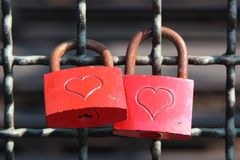 Red colored love locks Royalty Free Stock Photo