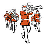 Red Colored Marching Band Illustration Royalty Free Stock Photography