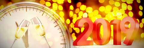 Composite image of red colored numbers. Red colored numbers against unfocused yellow christmas light stock illustration