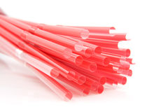 Red Colored straws in closeup Stock Image