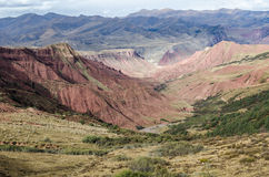 Red-colored Tibetan geological structures near Lajiaxiang city Stock Image
