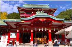 Tomioka Shrine. Red colored Tomioka shinto shrine in Tomioka district of Tokyo, Japan stock photo