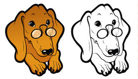 Red colorful and black-white line art dachshund Stock Images