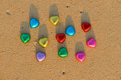 Red and colorful chocolate hearts candies Royalty Free Stock Photography