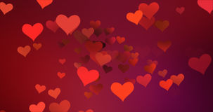 Red colorful hearts flying with vortex on red purple gradient background, love and valentine day Stock Image