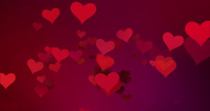 Red colorful hearts flying with vortex on red purple gradient background, love and valentine day stock video