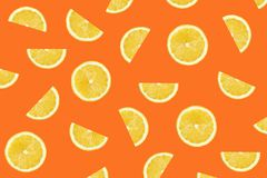 Red Colorful pattern of lemon slices stock photography