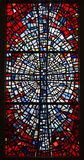 Red colorful stained-glass window Stock Image