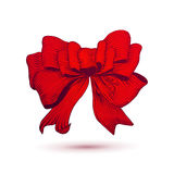 Red colors vector Ink style drawn bow for gift Stock Photos