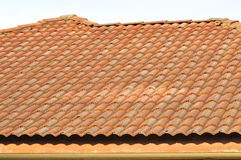 Red colour of roof tile pattern Stock Photography