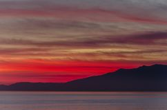 Red-coloured sunset royalty free stock photos