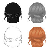 Red combed behind.Back hairstyle single icon in cartoon style vector symbol stock illustration web. Royalty Free Stock Photography