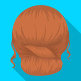 Red combed behind.Back hairstyle single icon in flat style vector symbol stock illustration web. Stock Photo