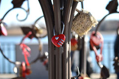 Red combination lock in the shape of a heart Stock Photos