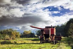 Red combine harvester Royalty Free Stock Photo