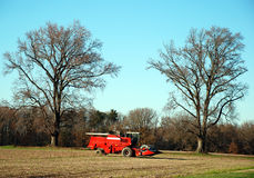 Red Combine Tractor Royalty Free Stock Images