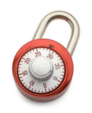 Red Combo Lock. Red Combination Lock Isolated on a White Background Royalty Free Stock Photography
