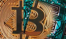 Red comercial en línea del cryptocurrency del bitcoin de Digitaces imagen de archivo