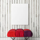 Red Comfortable Chair with mock up poster on wooden white wall,. 3d illustration royalty free illustration
