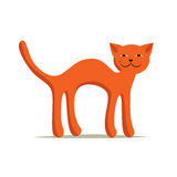 Red comic arched smiling cat on white background. Royalty Free Stock Photos