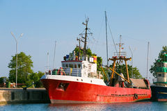 Red commercial fishing boat Stock Photography