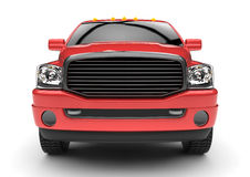 Red commercial vehicle delivery truck with a double cab and a van. Machine without insignia with a clean empty body to accommodate Royalty Free Stock Photography