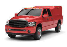 Red commercial vehicle delivery truck with a double cab and a van. Machine without insignia with a clean empty body to accommodate your logos and labels Royalty Free Stock Images
