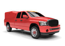 Red commercial vehicle delivery truck with a double cab and a van. Stock Images