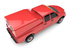 Red commercial vehicle delivery truck with a double cab and a van. Stock Image