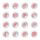 Red communication icons. On grey buttons