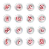 Red communication icons stock illustration